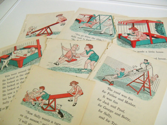 Children's School Book Plates, Prints - from Primary Readers (1930s-1950s).