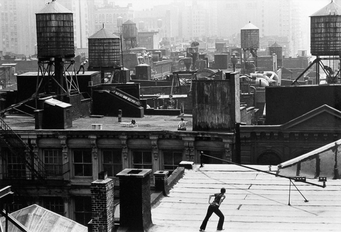 Trisha Brown in Roof piece (1971).