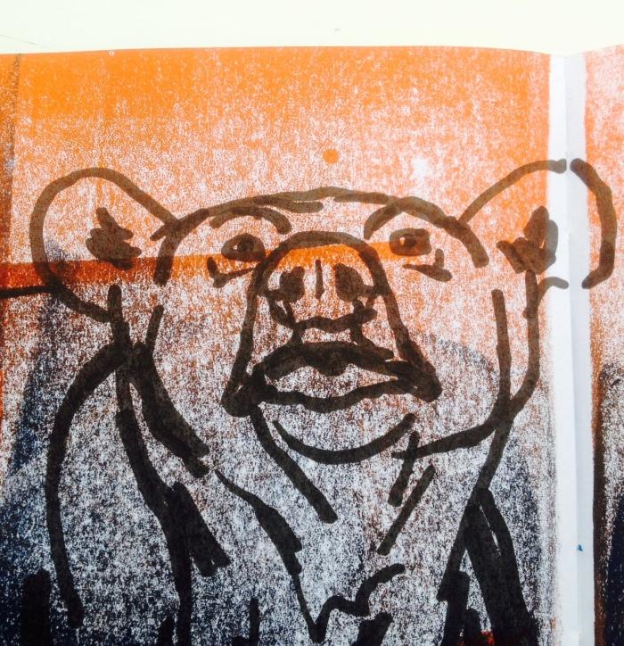Urso de Espanha (Museu Nacional de Ciências Naturais de Madrid). Marcador sobre tinta de gravura em Diário Gráfico (Frente). Pormenor