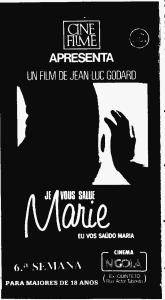 Cartaz referente à sexta semana de exibição de Eu Vos Saúdo, Maria no Cinema N'Gola