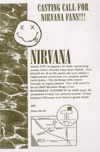 """Casting call de figurantes para o vídeo de """"Sounds Like Teen Spirit"""" dos Nirvana (1991)"""