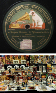 Logo da His Master's Voice num vinil de 1911 e merchandising dos Kiss.