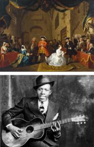 Pintura representando The Beggar's Opera (séc. XIVIII) e retrato de Robert Johnson (circa 1985)