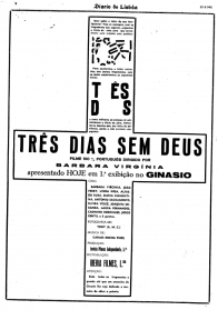 """FIGURA 116 - Poster do filme """"Três Dias Sem Deus"""", de Bárbara Virginia (Diário de Lisboa, 30 de Agosto de 1946)"""