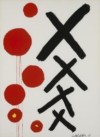 """FIGURA 7 - """"Black Crosses"""", de Alexander Calder (1961) - guache sobre papel"""