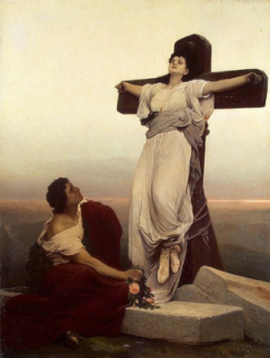 "FIGURA 98 - Pintura ""Christian Martyr (St. Julia) on the Cross"", de Gabriel Max (1865)"